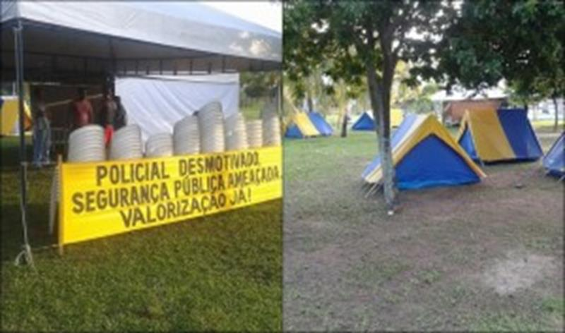 PM montam acampamento em frente a Governadoria baiana