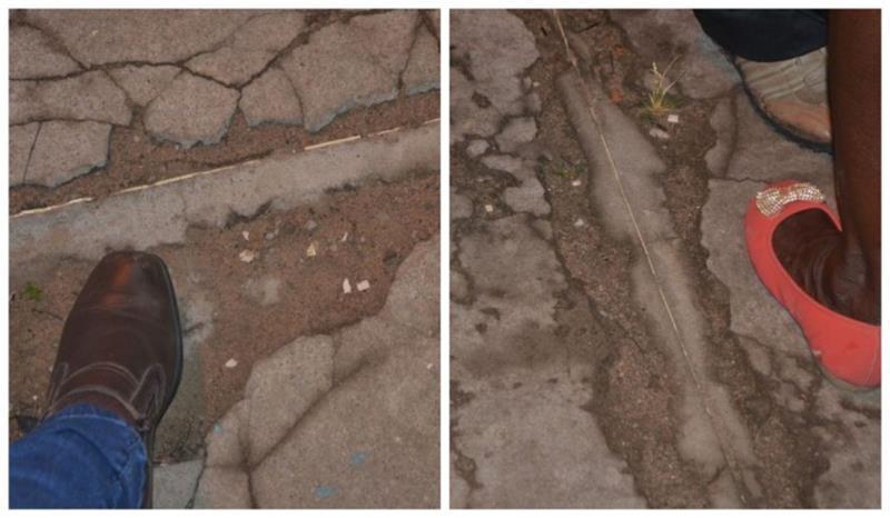 Muitos buracos no piso onde as quadrilhas juninas iam se apresentar em São José