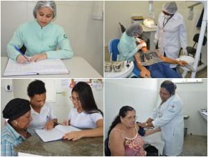 Drª Isis Amoirim, a técnica de enfermagem  Nildinha (aferindo a pressão)